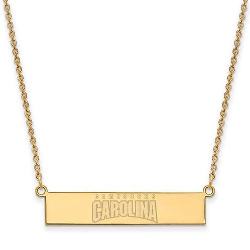 SS Gold Plated LogoArt University Of South Carolina Small Bar Necklace