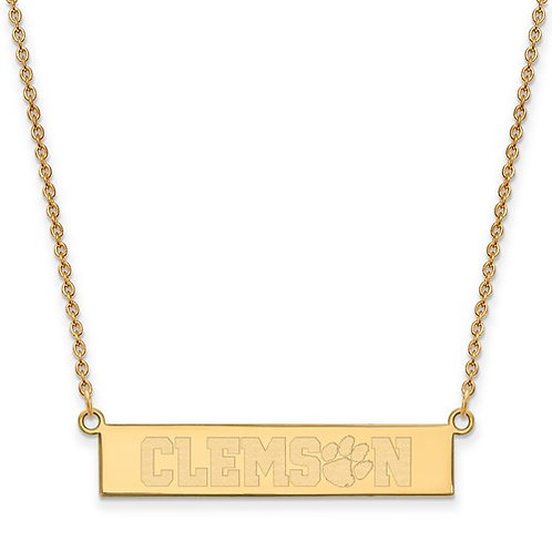 SS Gold Plated LogoArt Clemson University Small Bar Necklace