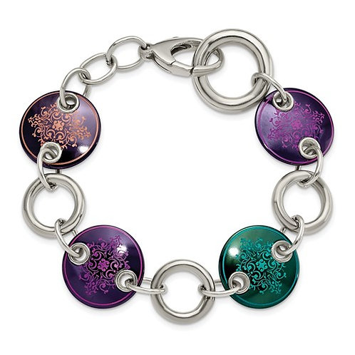 Edward Mirell Black Ti And Sterling Silver Anodized Multi Color Bracelet