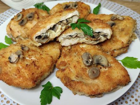 Kieszonki - Kotlety z kurczaka faszerowane pieczarkami i mozzarellą