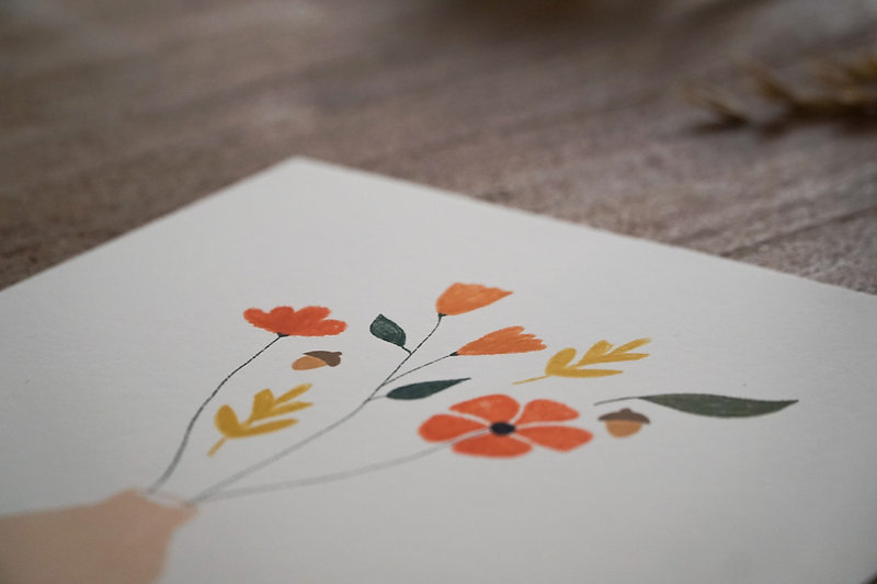 Digital illustration of fall flowers