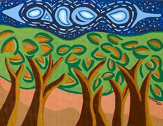 11 X 14 Matted Print - Night Trees