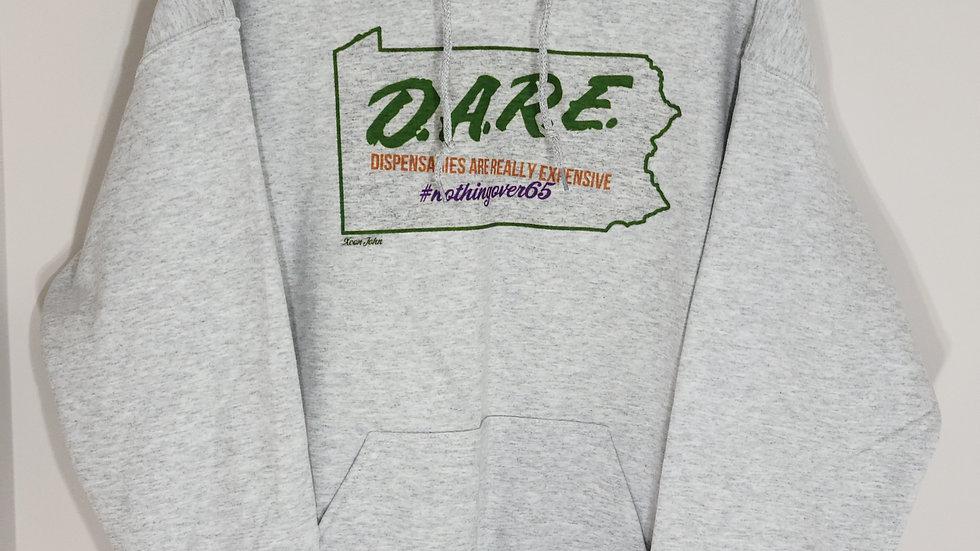 D.A.R.E. #NOTHINGOVER65 ASH GREY HOODIE 2XL/3XL