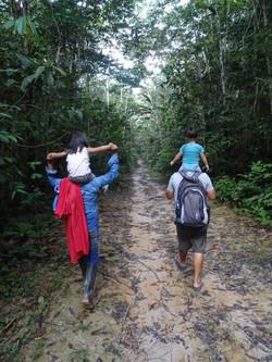 family walk in the jungle !