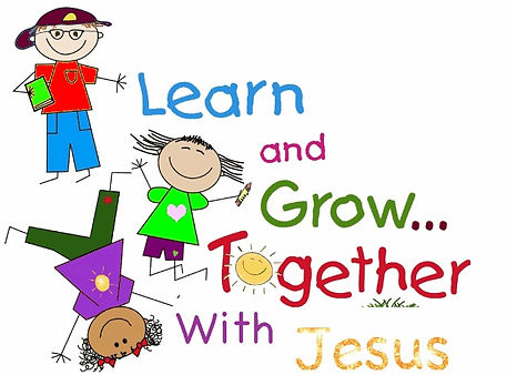 cute graphic that says Learn and Grow Together with Jesus