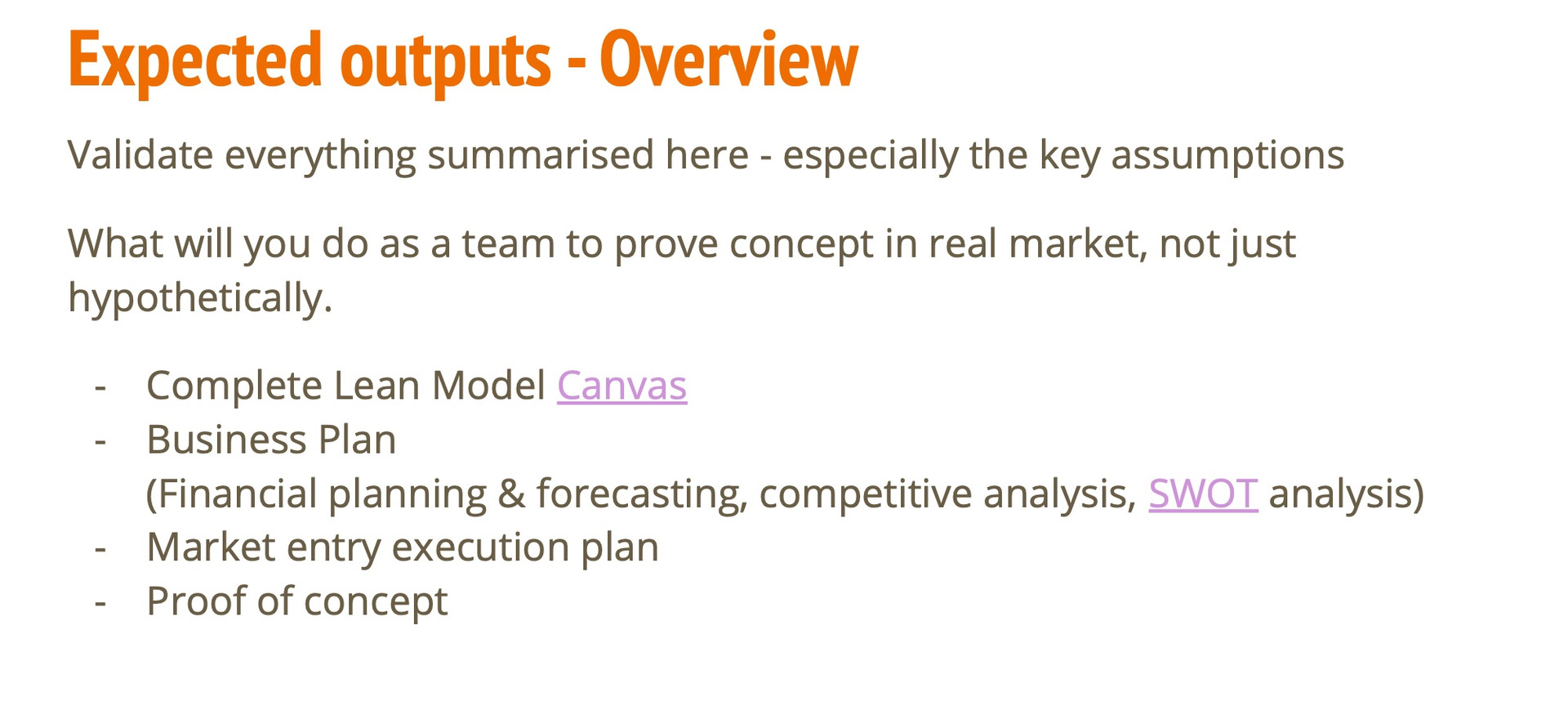 Expected Outputs- Overview