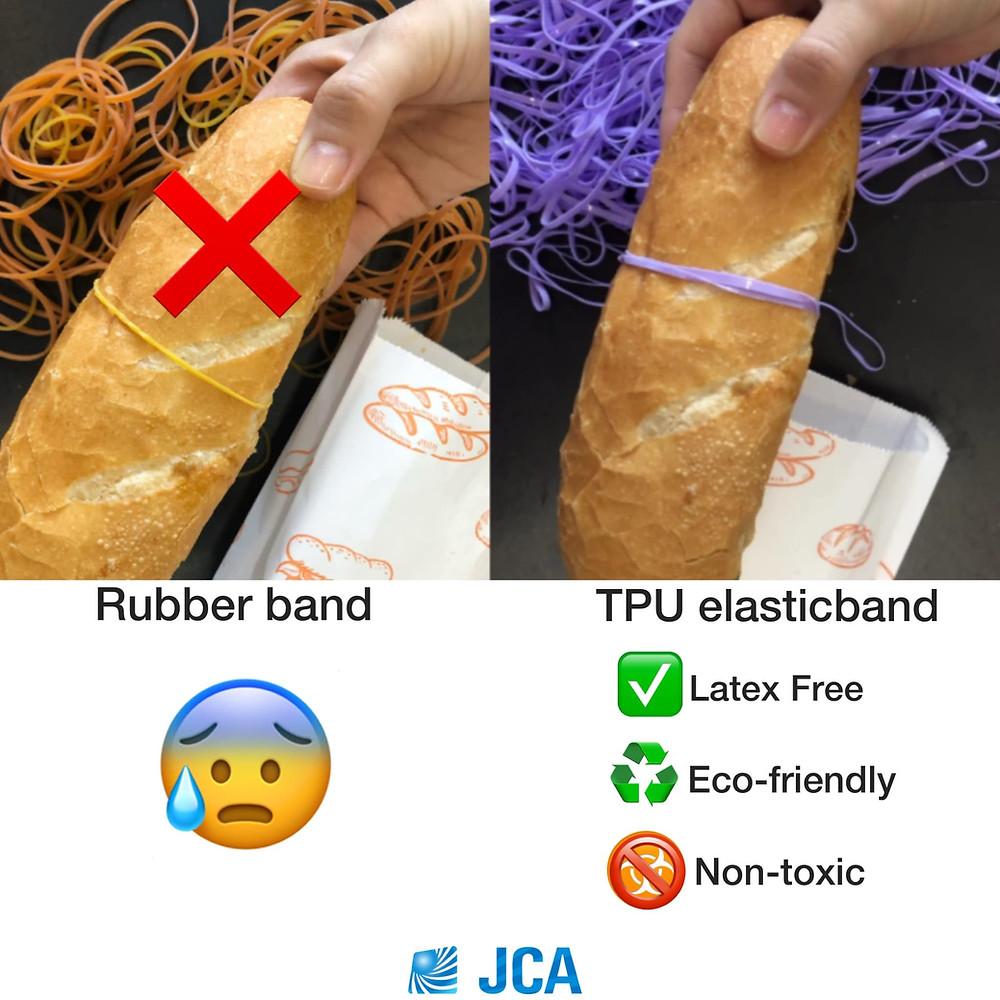 sử dụng dây thun từ tpu đóng gói thực phẩm thay cho dây thun cao su thông thường