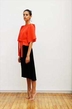 Sculptural top and skirt
