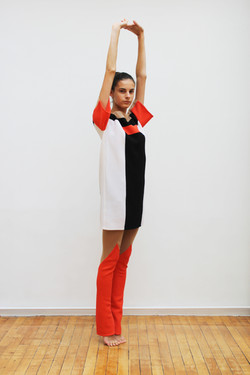 Woolen patchwork dress & leggings