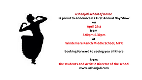 Ushanjali School of Dance is proud to an