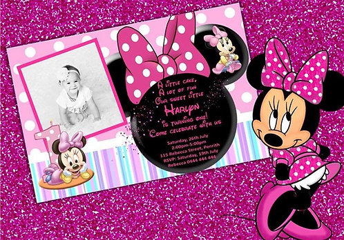 Minnie Mouse invitation with pic