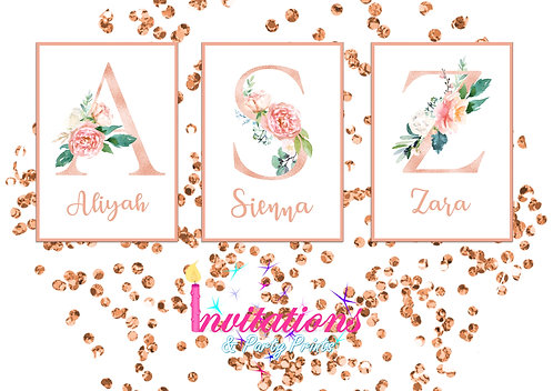 Rose gold letter name wall print