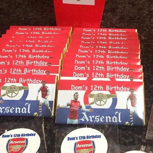 Arsenal themed chocolate bar
