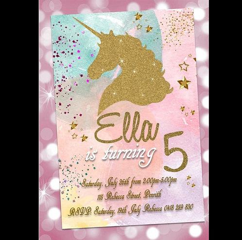 Unicorn glitter ombré invitation