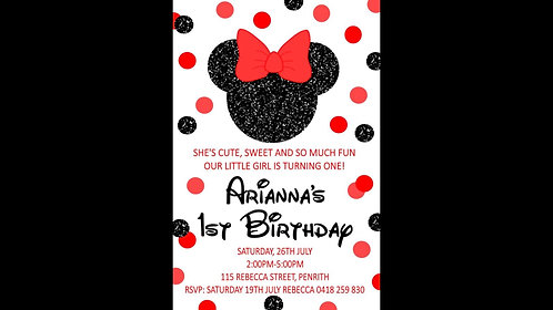 Minnie Mouse black and red Invitation