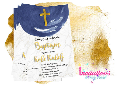 Blue and gold watercolour baptism invitation