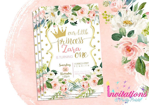Princess blush floral invitation