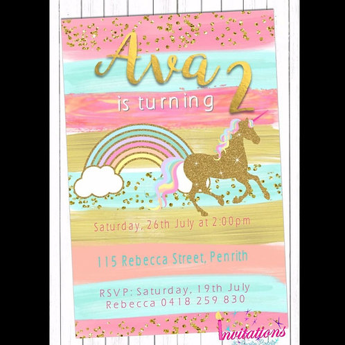 Unicorn brush stroke invitation