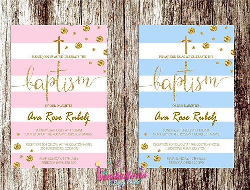 Baptism stripe invitation