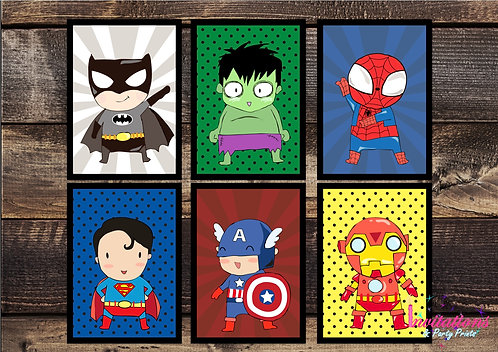 Superhero wall print x 6