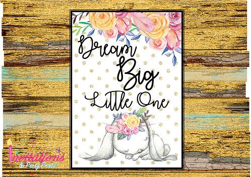 Dream big little one Bunny wall print A4
