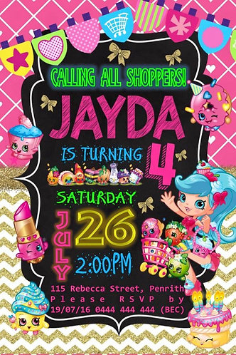 Shopkins chalk chevron Invitation