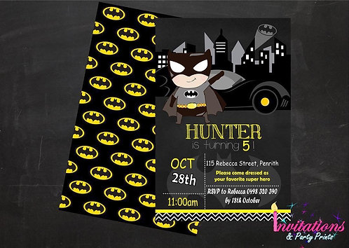 Batman chalk invitation