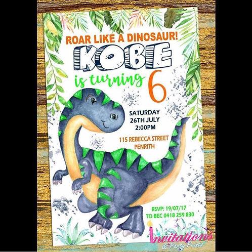 T Rex watercolor invitation