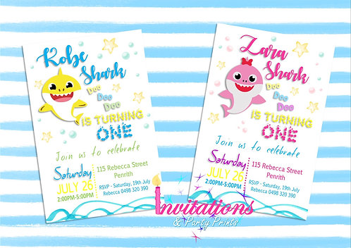 Baby shark themed invitation