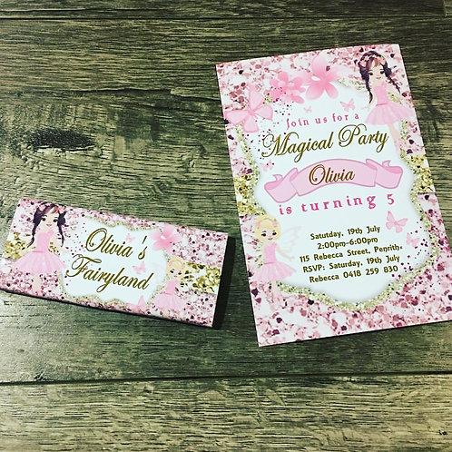Fairy glitter invitation