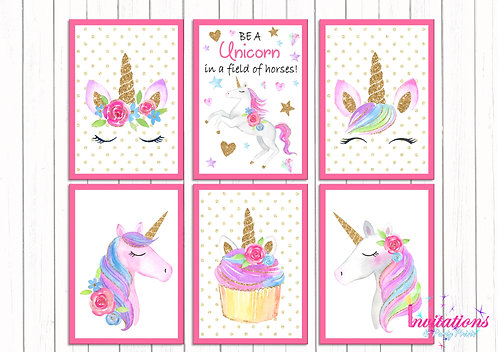 Unicorn wall prints x 6
