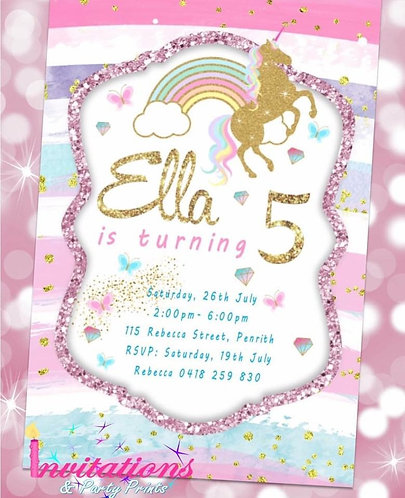 Unicorn pastel rainbow invitation