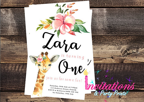 African Animal Floral Invitation
