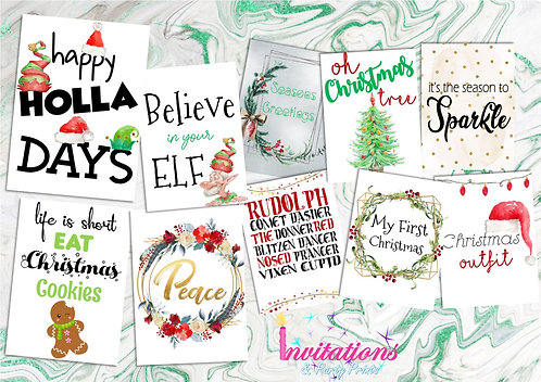 Christmas flatlay card pack 2