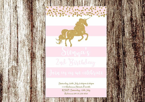 Unicorn pink stripe invitation