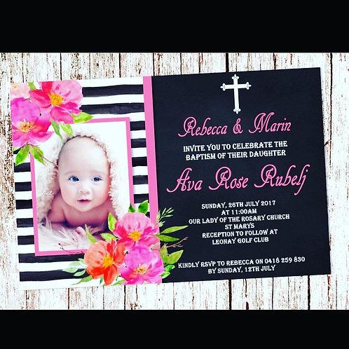 Christening chalk flower invitation