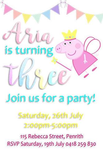 Peppa pig fairy invitations