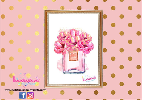 Chanel wall print pink