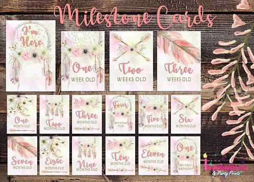 Pink Boho Milestone cards