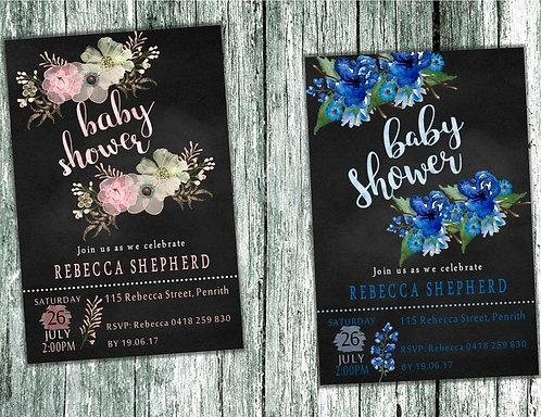 Chalk Floral Baby Shower Invitation