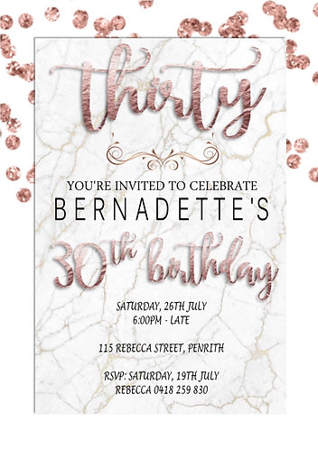 Rose gold and marble invitation