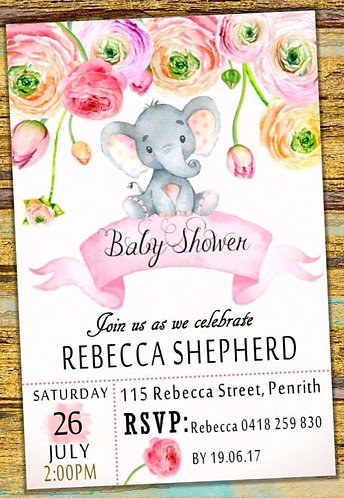 Elephant flower baby shower invitation