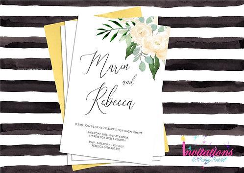 Watercolour flower invitation