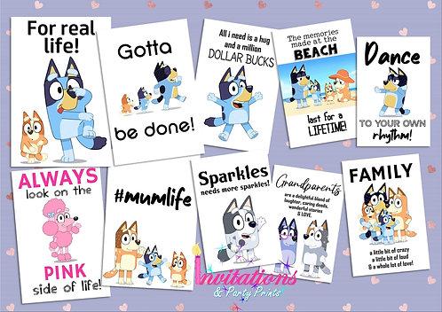 Bluey themed Flatlay cards