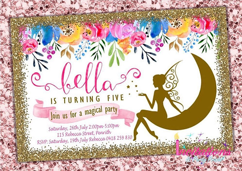 Fairy floral watercolor Invitation