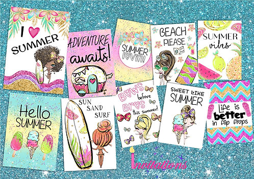 Summer vibes flat lay cards