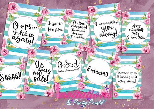 Shopping addict Flatlay cards floral