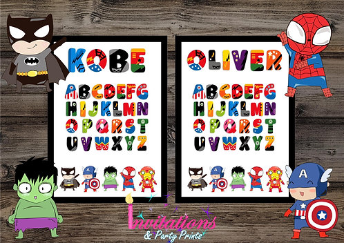 Superhero name alphabet prints