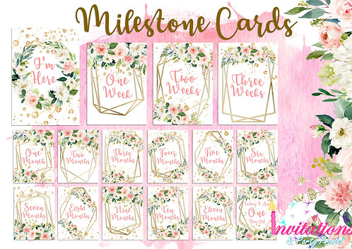 Blush floral geometric milestone cards