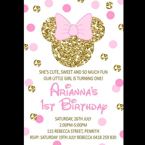 Minnie Mouse gold and pink invitation